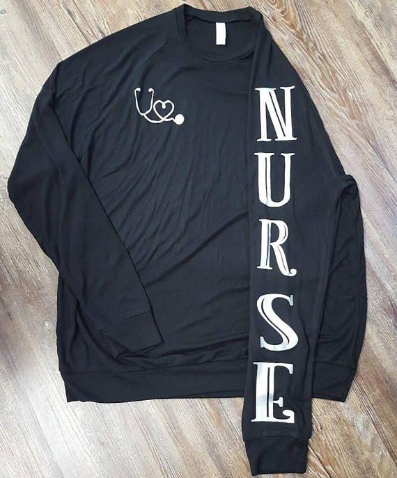 54958f28b78 Unisex Nurse Sweatshirt, Stethoscope Emblem, Nurse Shirt, Christmas Gift,  Long Sleeve Shirt, Long Sl