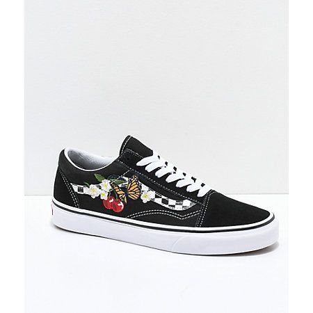 eb03ade2ba41 Vans Old Skool Black   White Checkered Floral Skate Shoes in 2019 ...