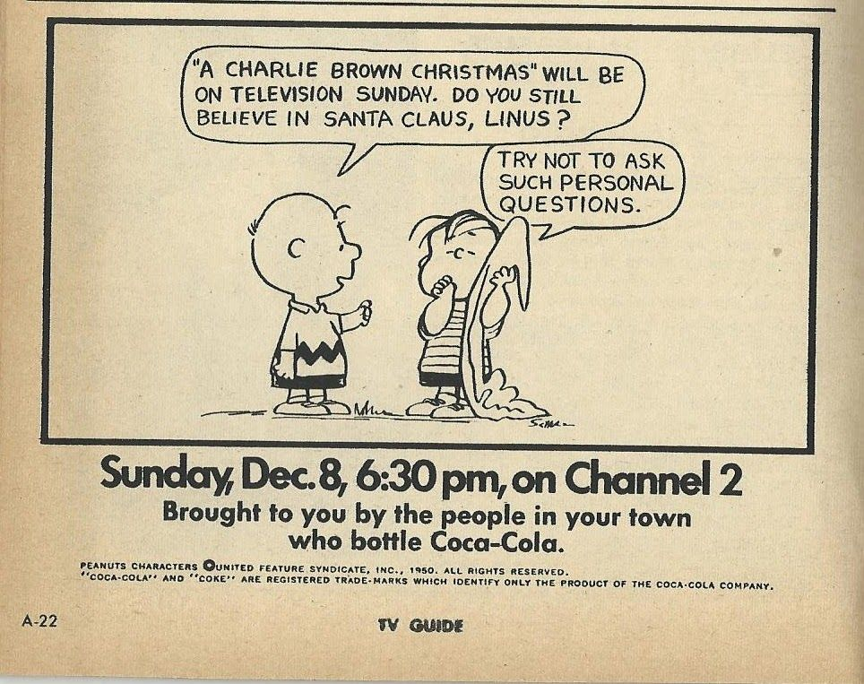 The TV Guide Historian: A Charlie Brown Christmas Ad 1968 | Happy ...