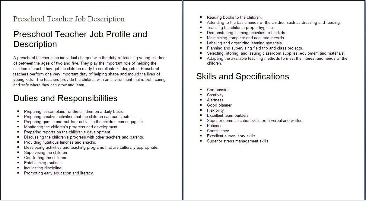 Job Descriptions Jobs for teachers, Preschool teacher