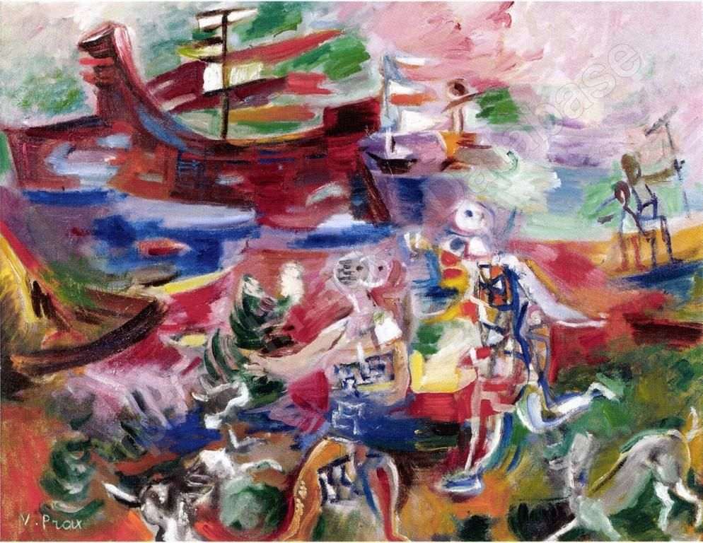Au bord de la mer, Peinture, par lu0027artiste Valentine Henriette PRAX - pose papier a peindre