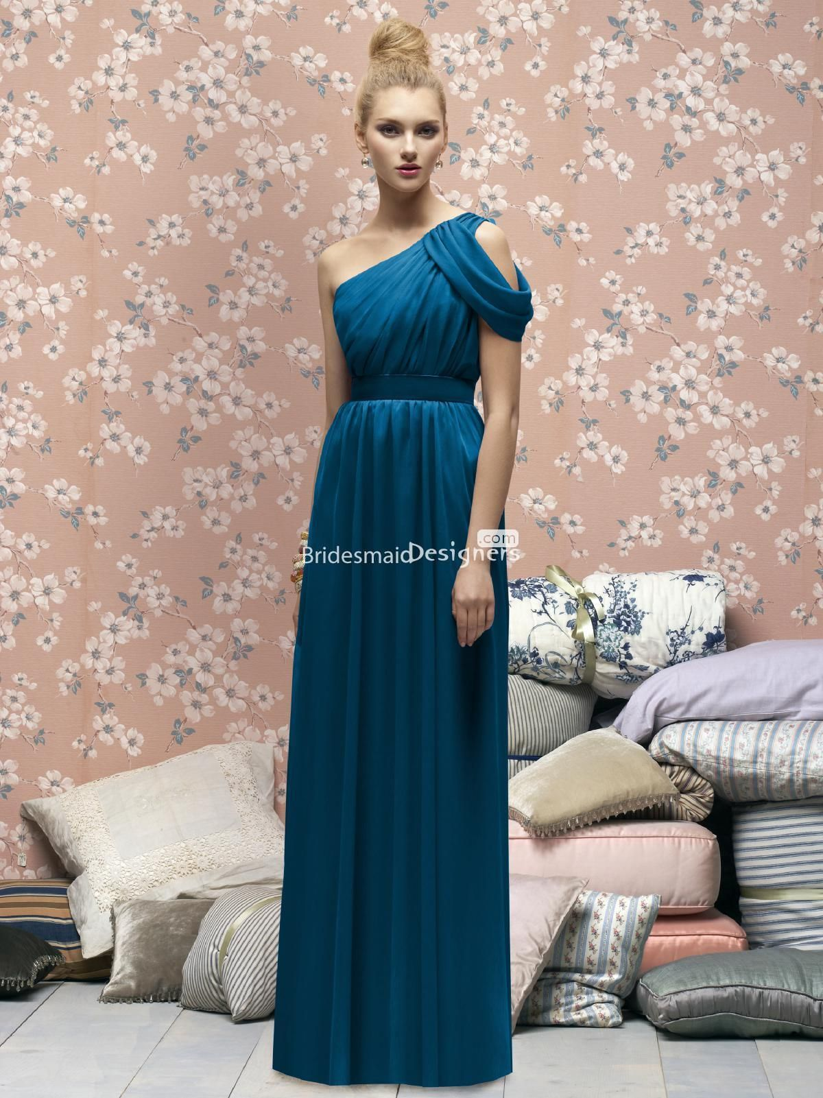new ocean blue one shoulder floor length draped chiffon