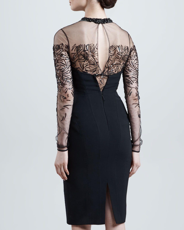 J mendel beaded sheeryoke longsleeve dress eclipse fashion