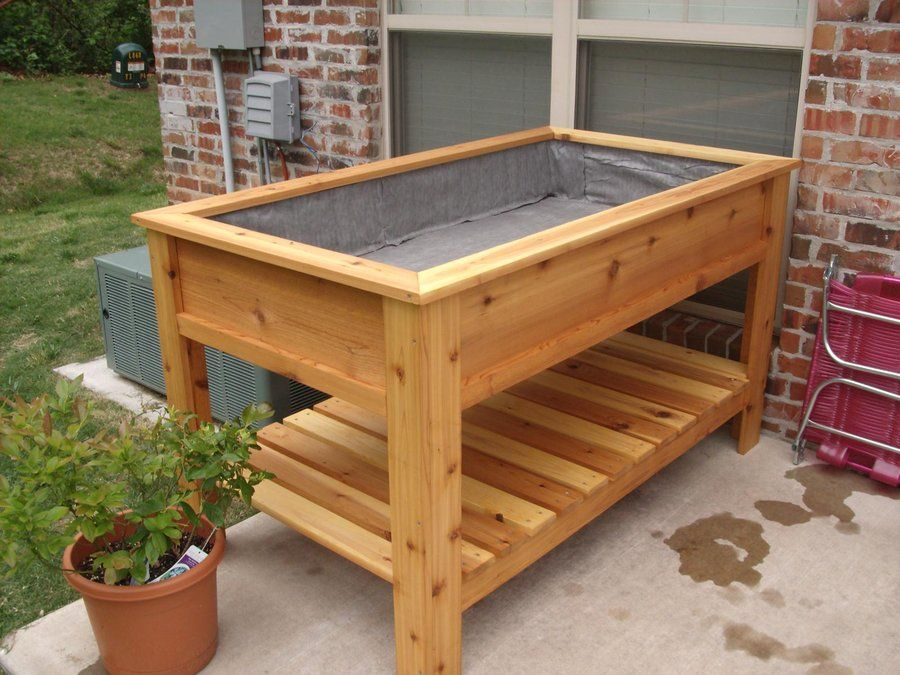 Cedar raised garden box by jbergh for Garden box landscape and design