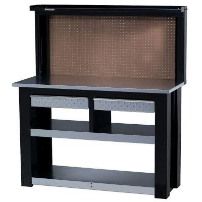 stack on 54 in professional steel workbench with back wall storage