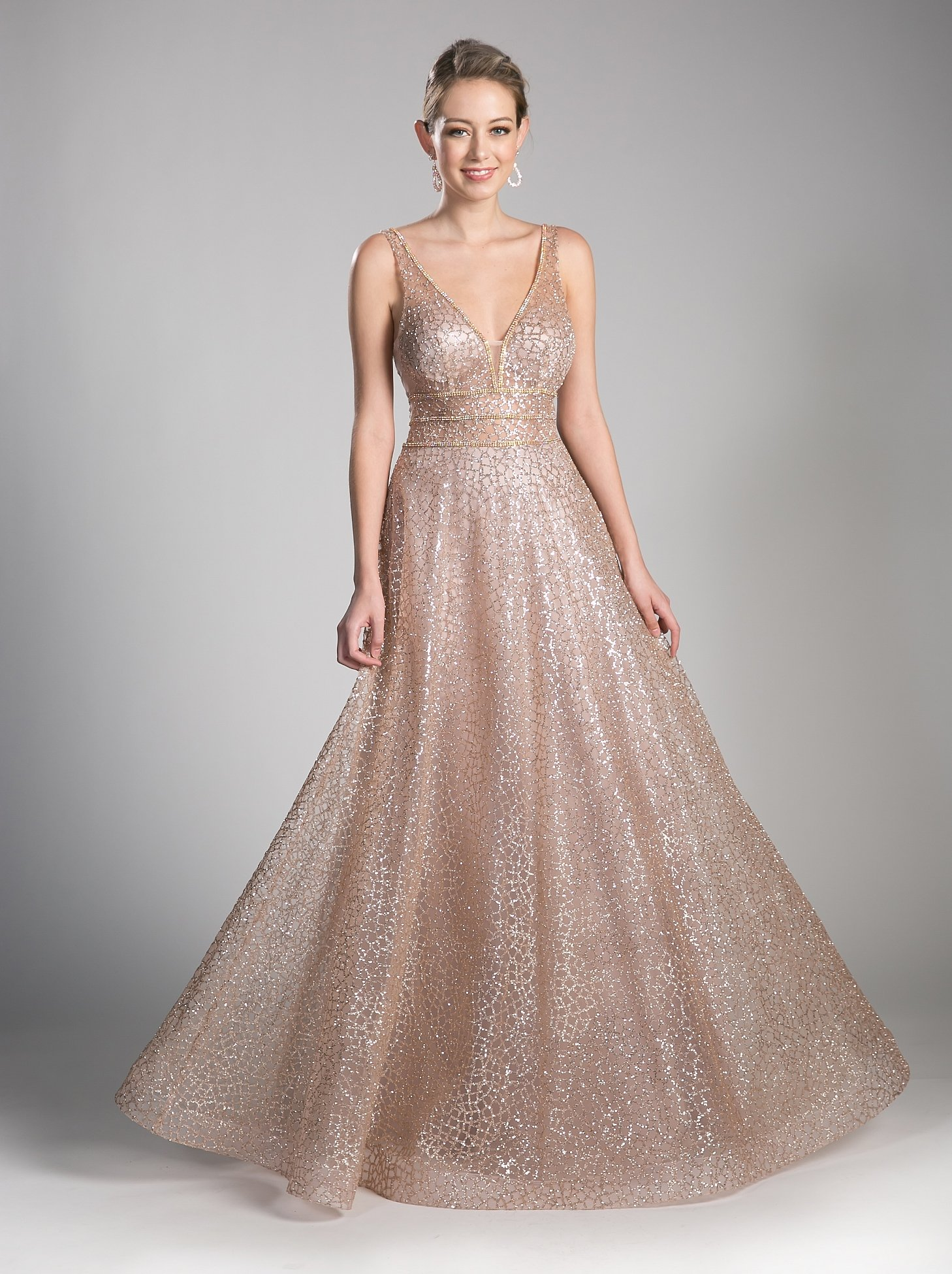 ad8ac71c339 Long Open Back A-line Glitter Dress by Cinderella Divine CJ256 ...