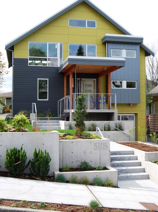 No Trim On Windows Phinney Ridge Photos   Contemporary   Exterior   Seattle    Portal Design Inc / Like The Variation In Hardie Siding And Pops Of Color