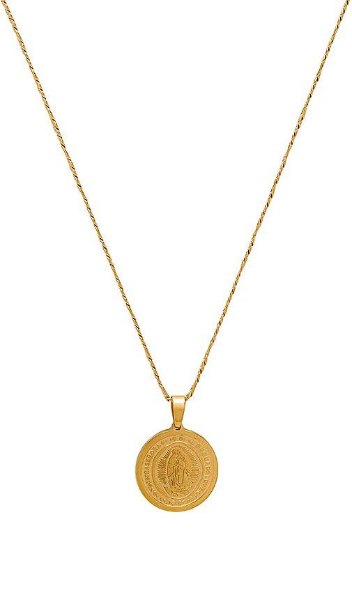 Saint Christopher Necklace in Metallic Gold Natalie B Jewelry LdiIJhS