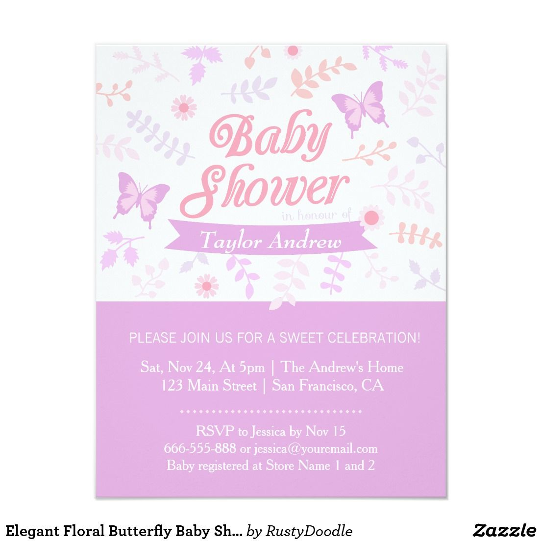 Elegant Floral Butterfly Baby Shower Invitations Planning a baby ...