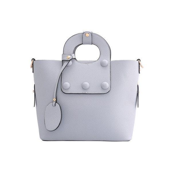 Grey Zipper PU Shoulder Bag ($31) ❤ liked on Polyvore