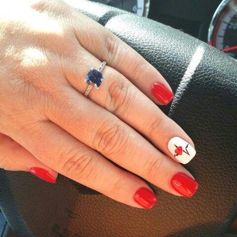 My newest nail design - homage to nursing school ♡♡♡