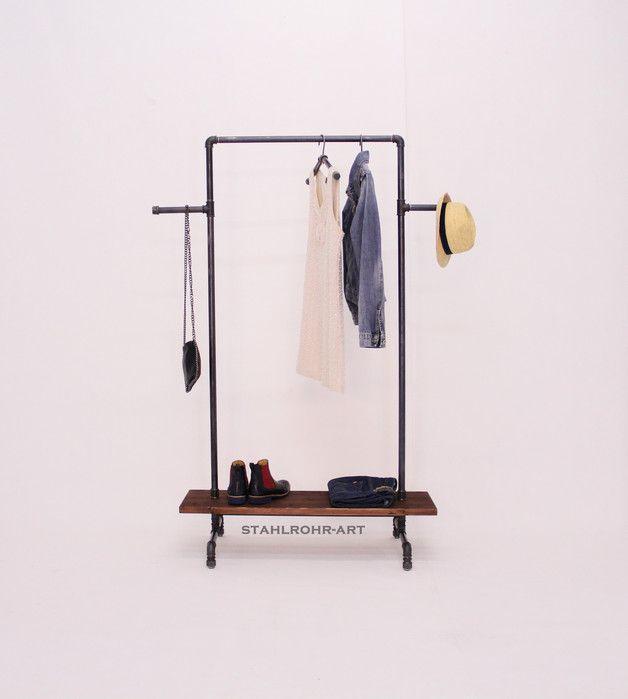 coole garderobe im industriedesign aus stahlrohren, kleiderständer, Deko ideen