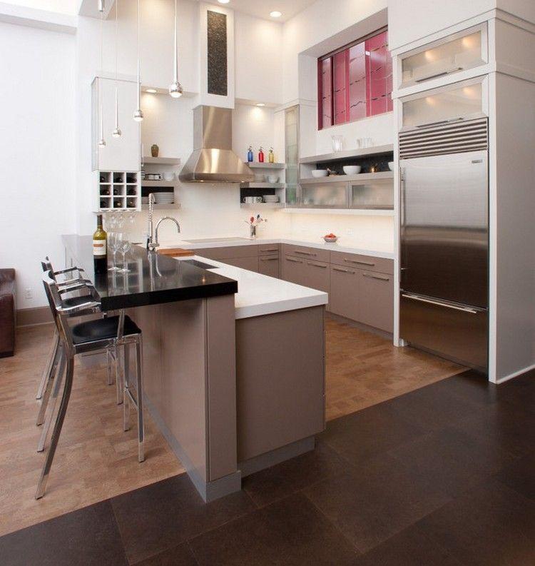 Küche in U-Form halbinsel-barhocker-taupe-weiss-kombination - küche in u form
