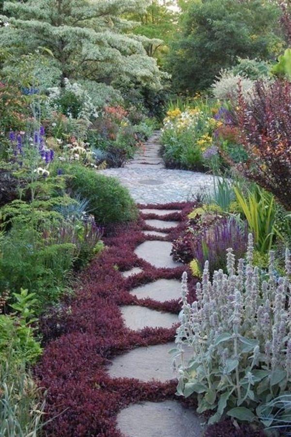 100 Gartengestaltung Bilder Und Inspiriеrende Ideen Für Ihren Garten    Garten Gestalten Pfad Betonplatten Und Pflanzen