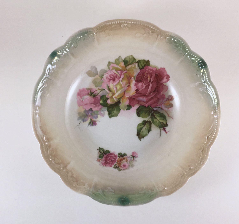 German Wedding Gifts: Vintage German Lusterware Bowl, Pink & Yellow Roses, Green