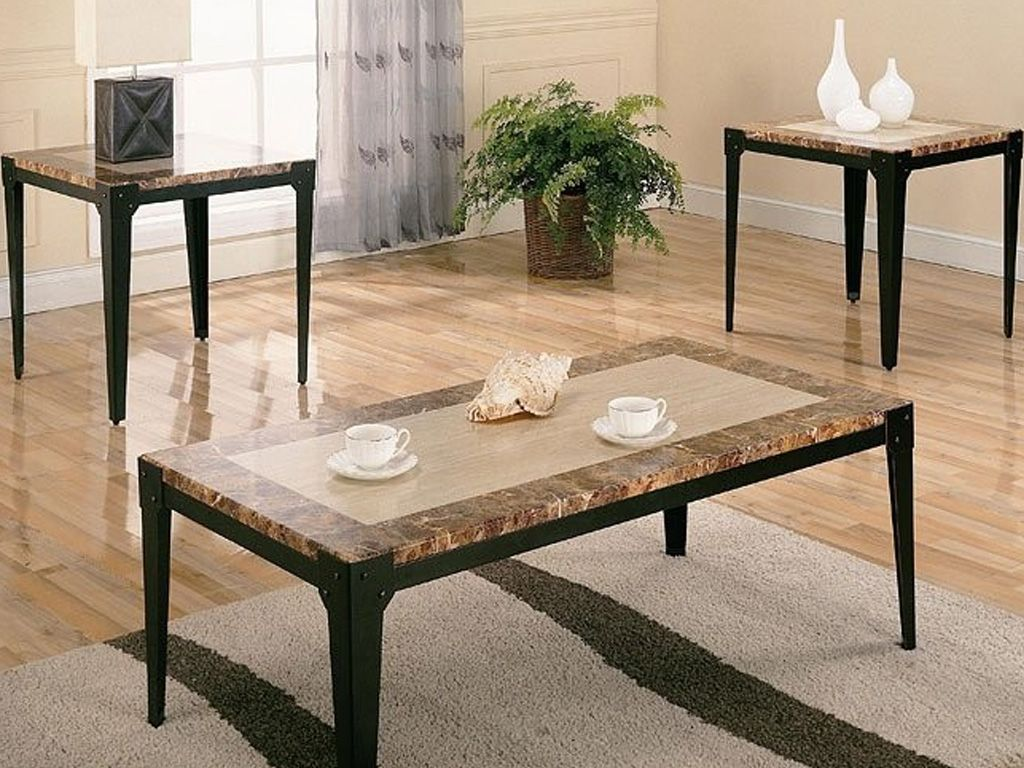 This 3 Piece Brown Marble Top Coffee Table Set Features Metal Frame Bases With Looking Tops