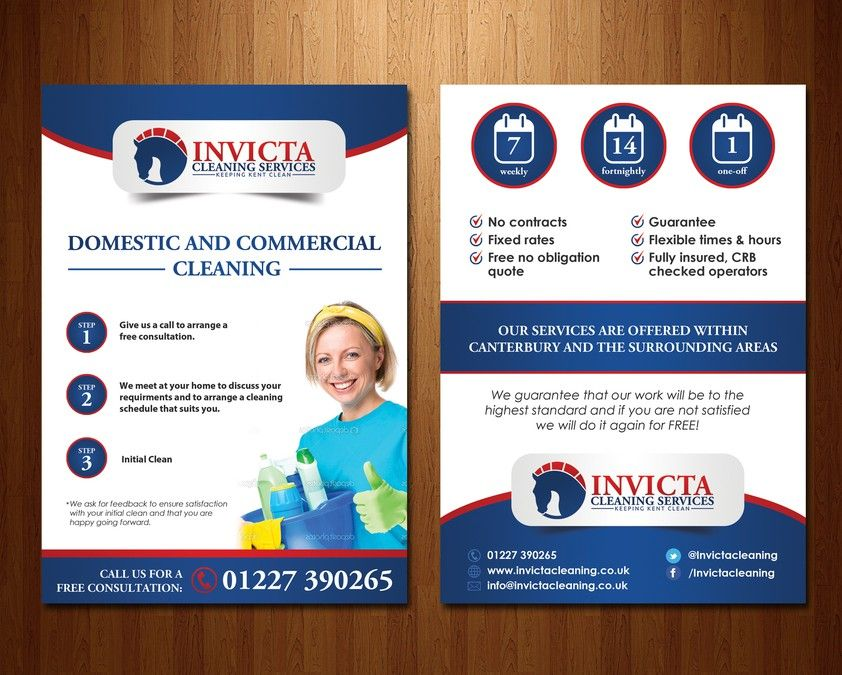 create an a5 leaflet for invicta cleaning services by elven song