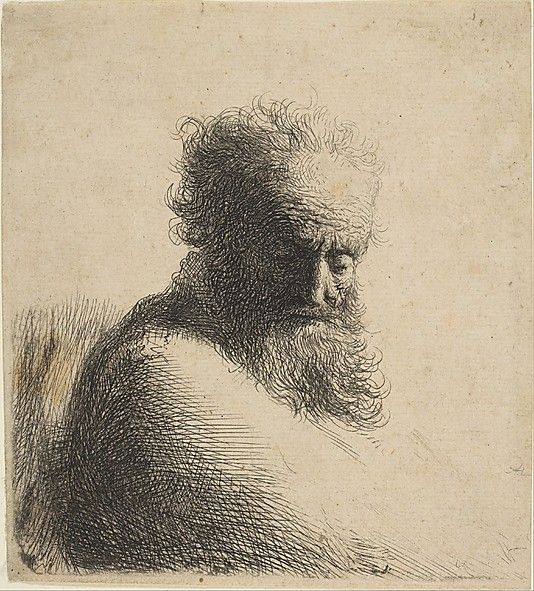 Bust Of An Old Bearded Man Looking Down By Rembrandt 1606 1669 Amsterdam Date 1631 Medium Etching Rembrandt Drawings Rembrandt Rembrandt Etchings