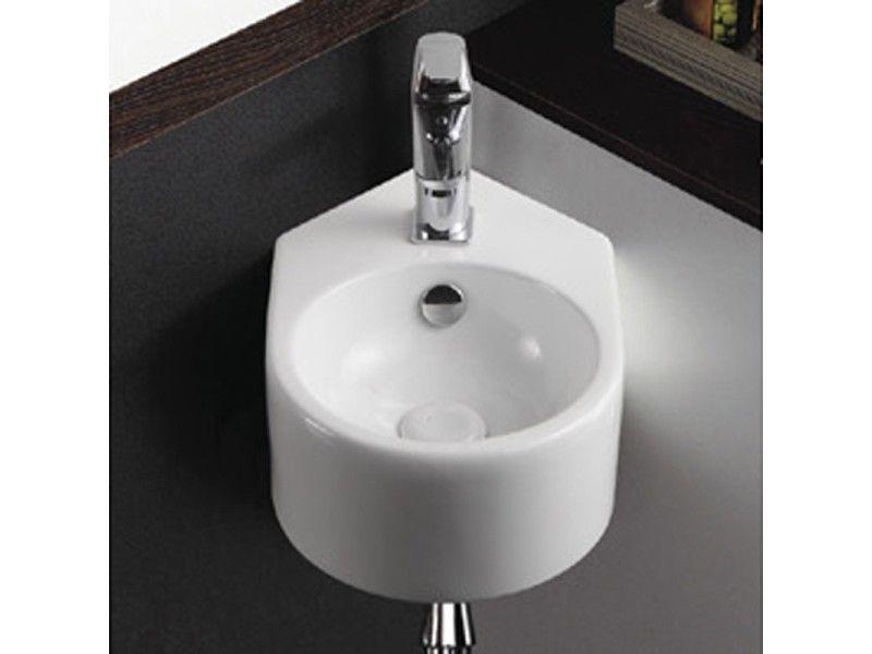Lave Main D Angle Rond 42x27 Cm Ceramique Blanche Style Vente De Rue Du Bain Conforama Lave Main Angle Lave Main Lave Main Toilette