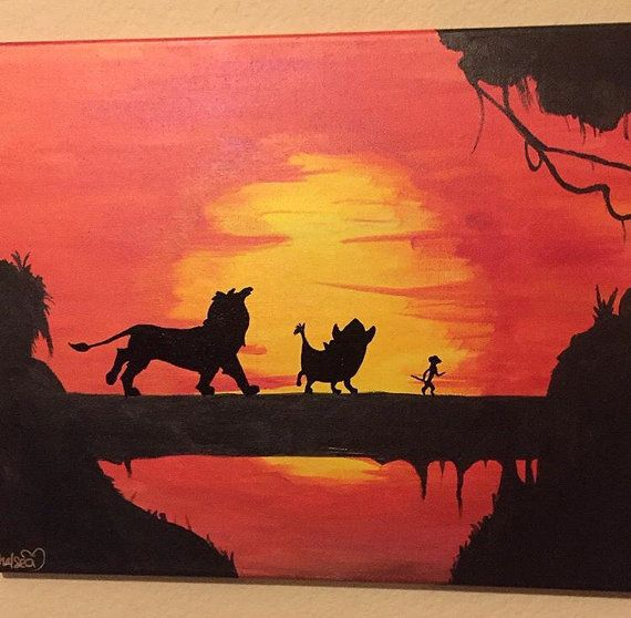 8x10 The Lion King Sunset Canvas Painting By Babydollcraftz Disney Canvas Paintings Disney Canvas Art Sunset Canvas Painting