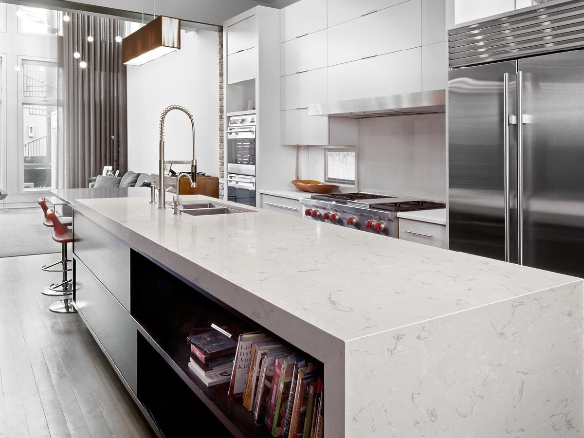 Sleek contemporary kitchen with Cambria Swanbridge collection ...