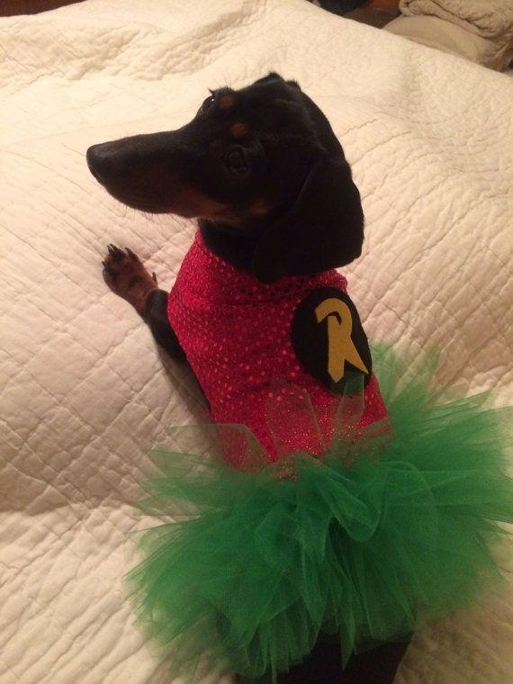Dog Dachshund Superhero Girl Robin Costume Tutu Dress Comes