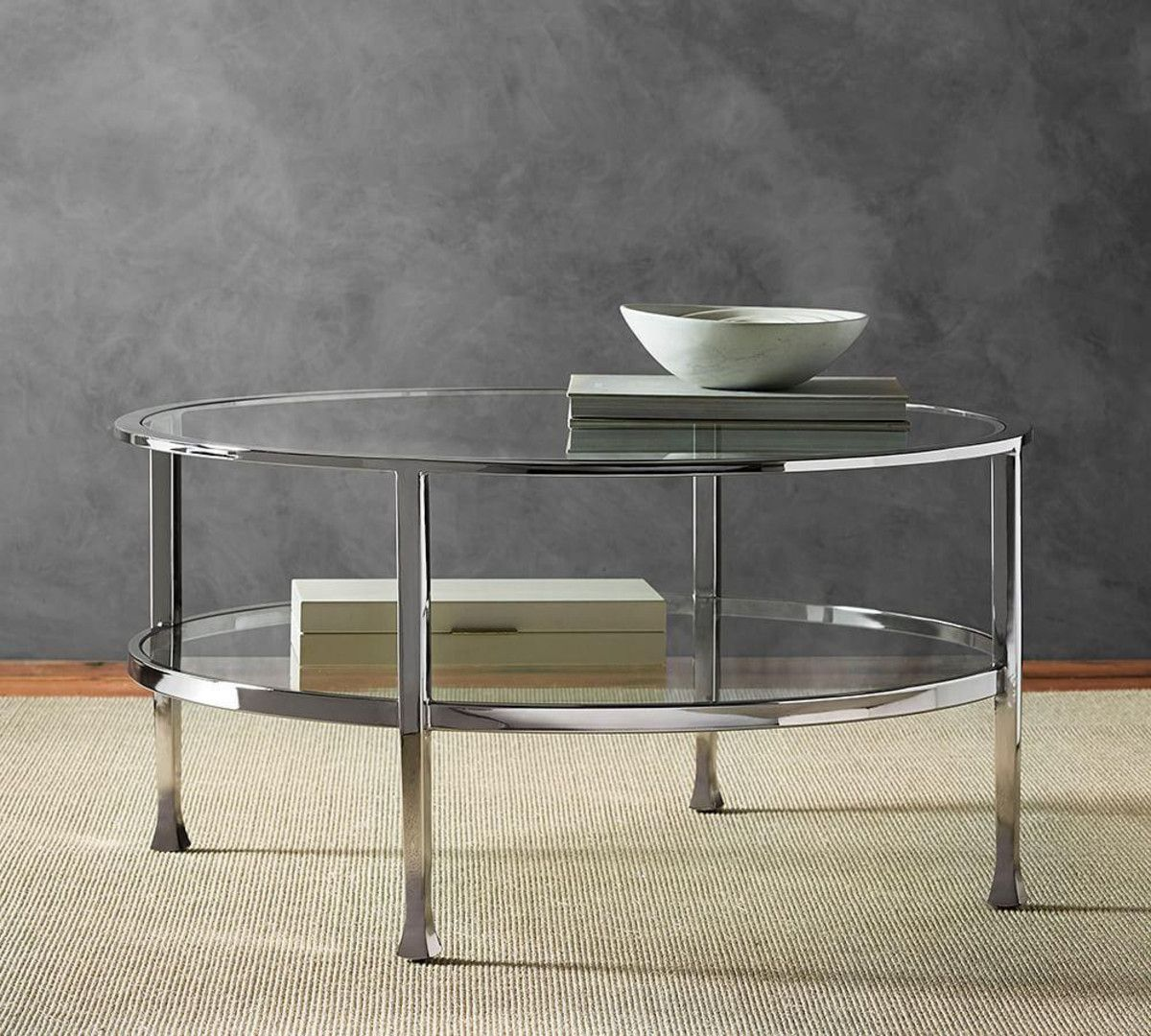 8dcf7423509f Tanner Round Coffee Table - Polished Nickel Finish