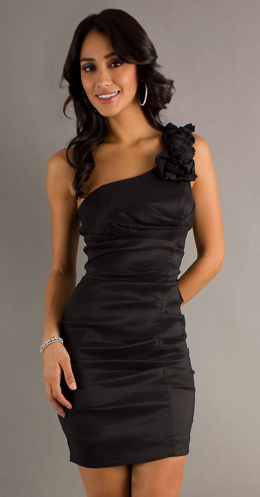 Short black cocktail gown one strap tight fitting above knee