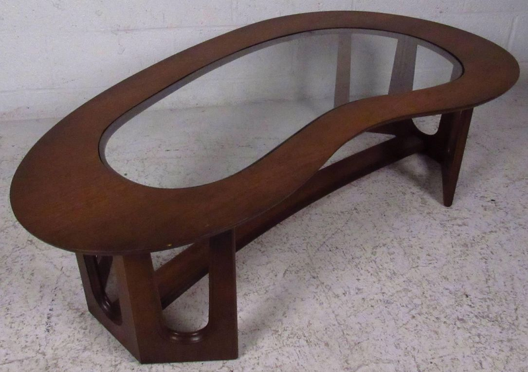 1962 kidneyshape coffee table in teak with glass top