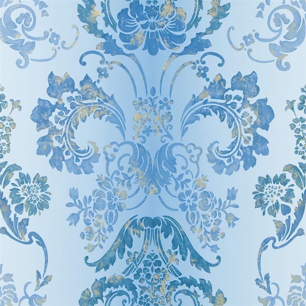 kashgar azure wallpaper Designers guild, Damask