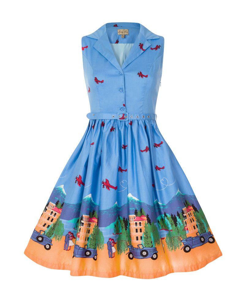 Matilda  Blue Lake Como Print Swing Dress  c6fc99301