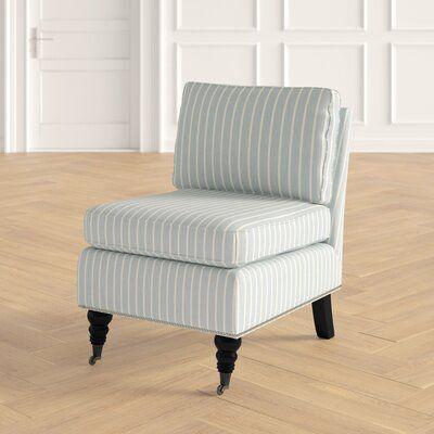 August Grove Gatwick Slipper Chair Chair Fabric Chair Oak Panels