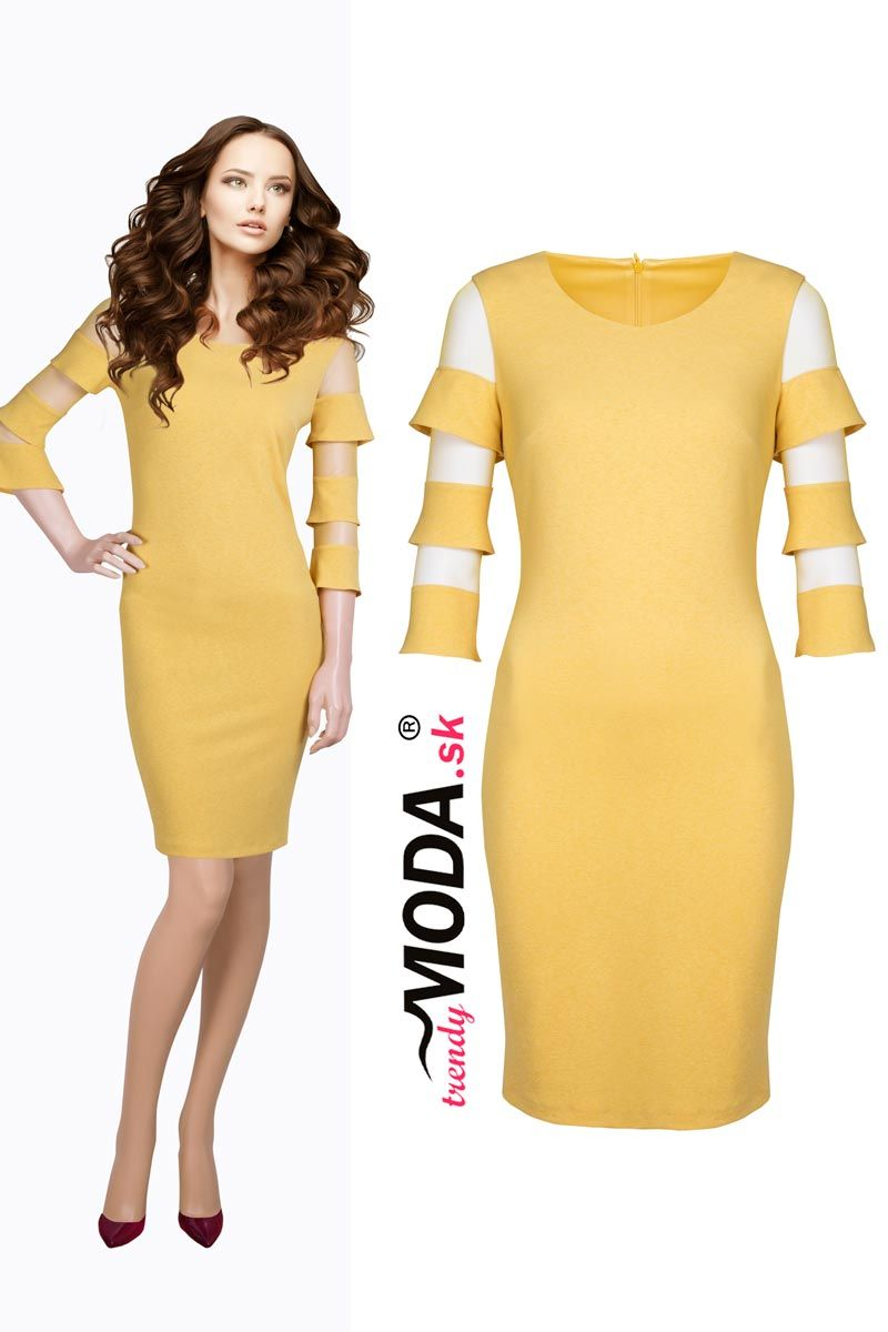 2618cc4b67ab Žltá je in! Zažiarte v nej ako slniečko. Odporúčame vám krátke žlté dámske  šaty s extravagantnými volánmi na rukávoch.