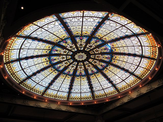 Stained Glass Roof Inside The Historic Empress Hotel