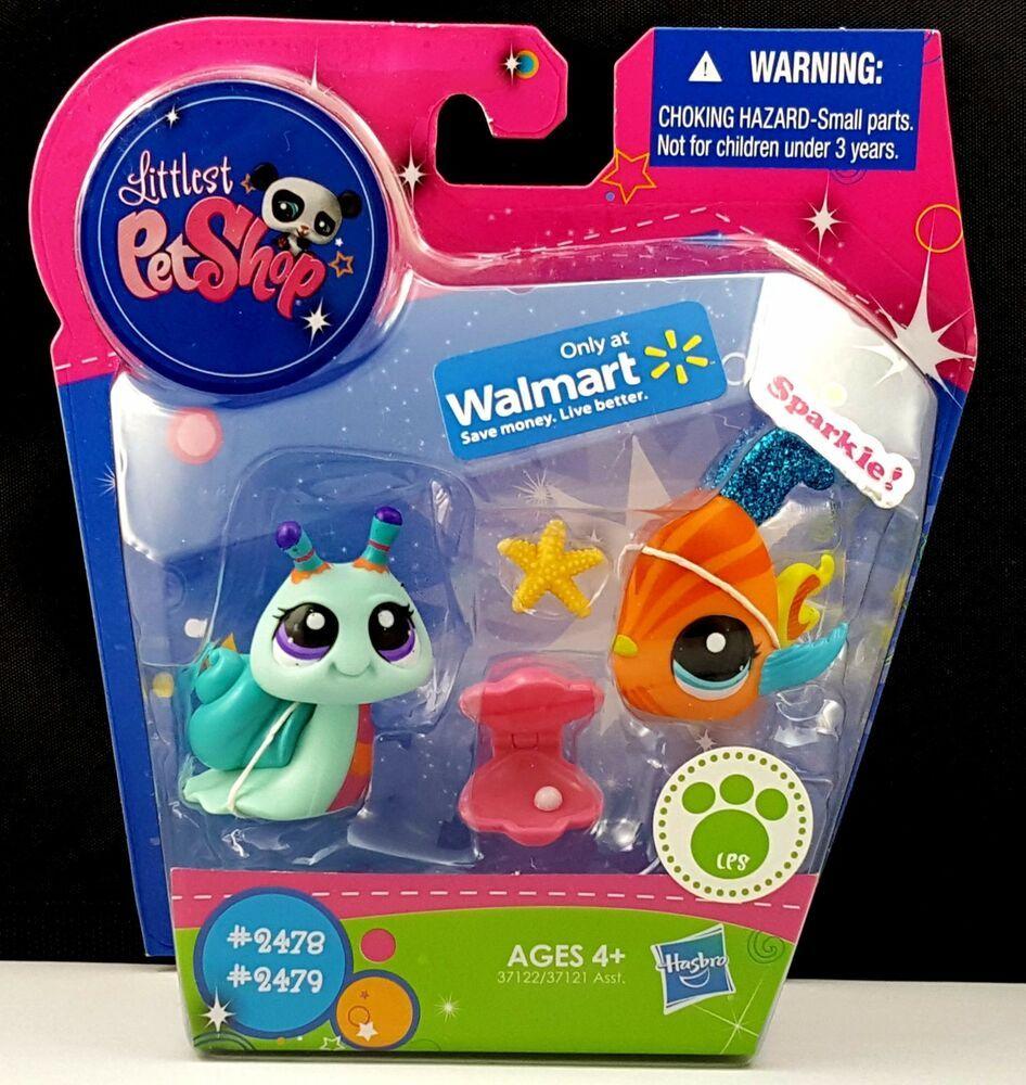 Details About Littlest Pet Shop Sparkle Angel Fish 2479 Snail 2478