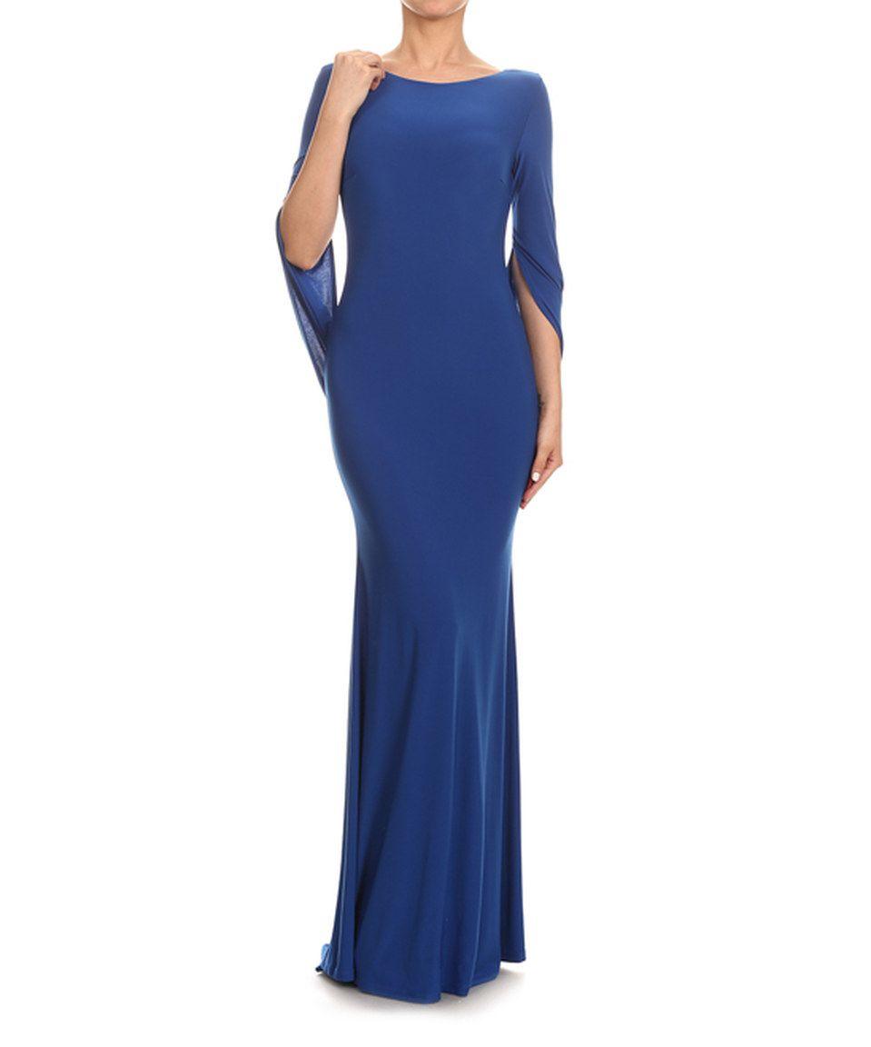 Blue capesleeve maxi dress by karen t design zulily zulilyfinds