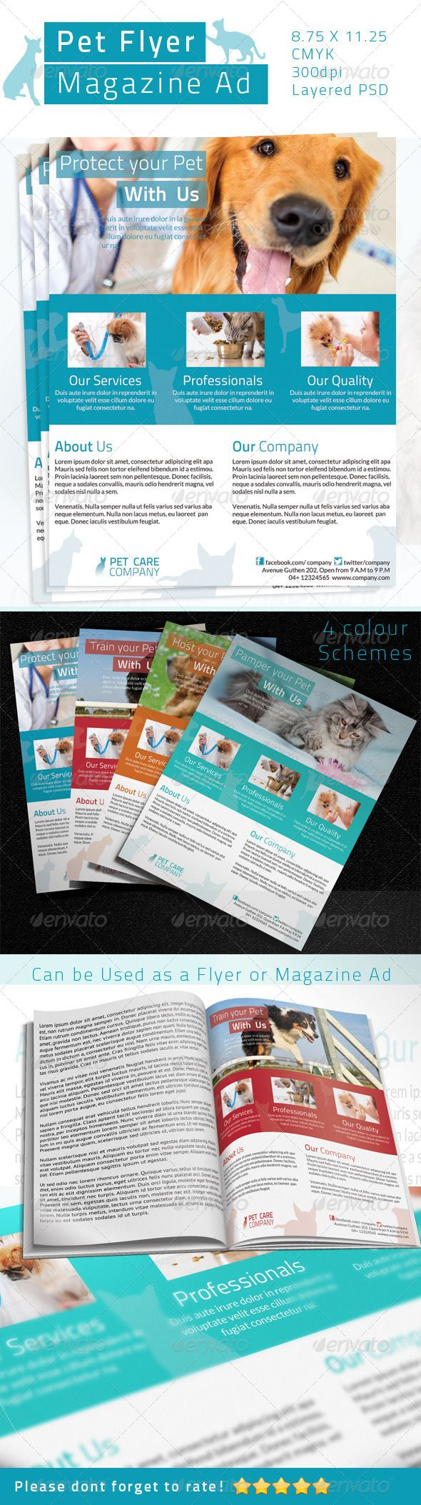 Pet Care Flyer / Magazine Ad   #GraphicRiver        Pet Care Flyer / Magazine Ad  It Can be used in any Business like Pet Care,Pet Shop,Veterinarian etc    CMYK Color profile  8.75 X 11.25  300 DPI  Easy to Edit  Organized layers  Ready to print  Free Fonts  4 color schemes