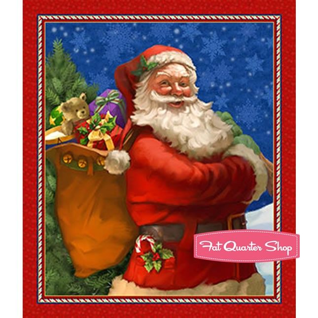 """Fabric Christmas Just be Claus on Cotton Panel 24/""""x42/"""""""