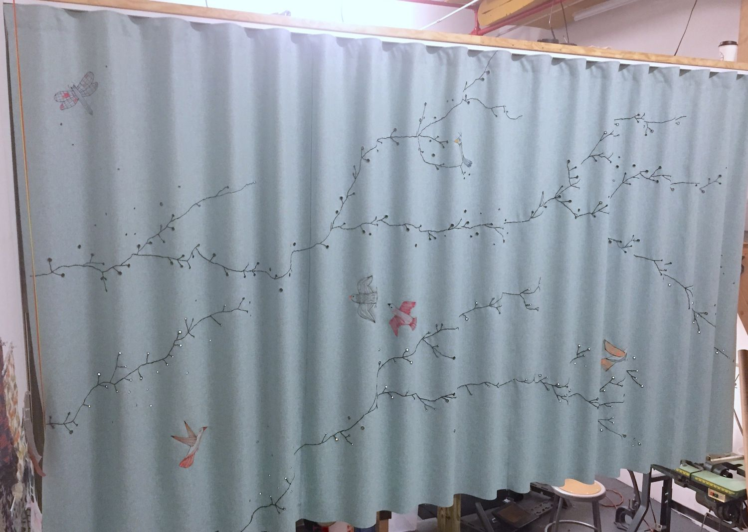 Elodie Blanchard Curtain  Grommet And Embroidery With Birds