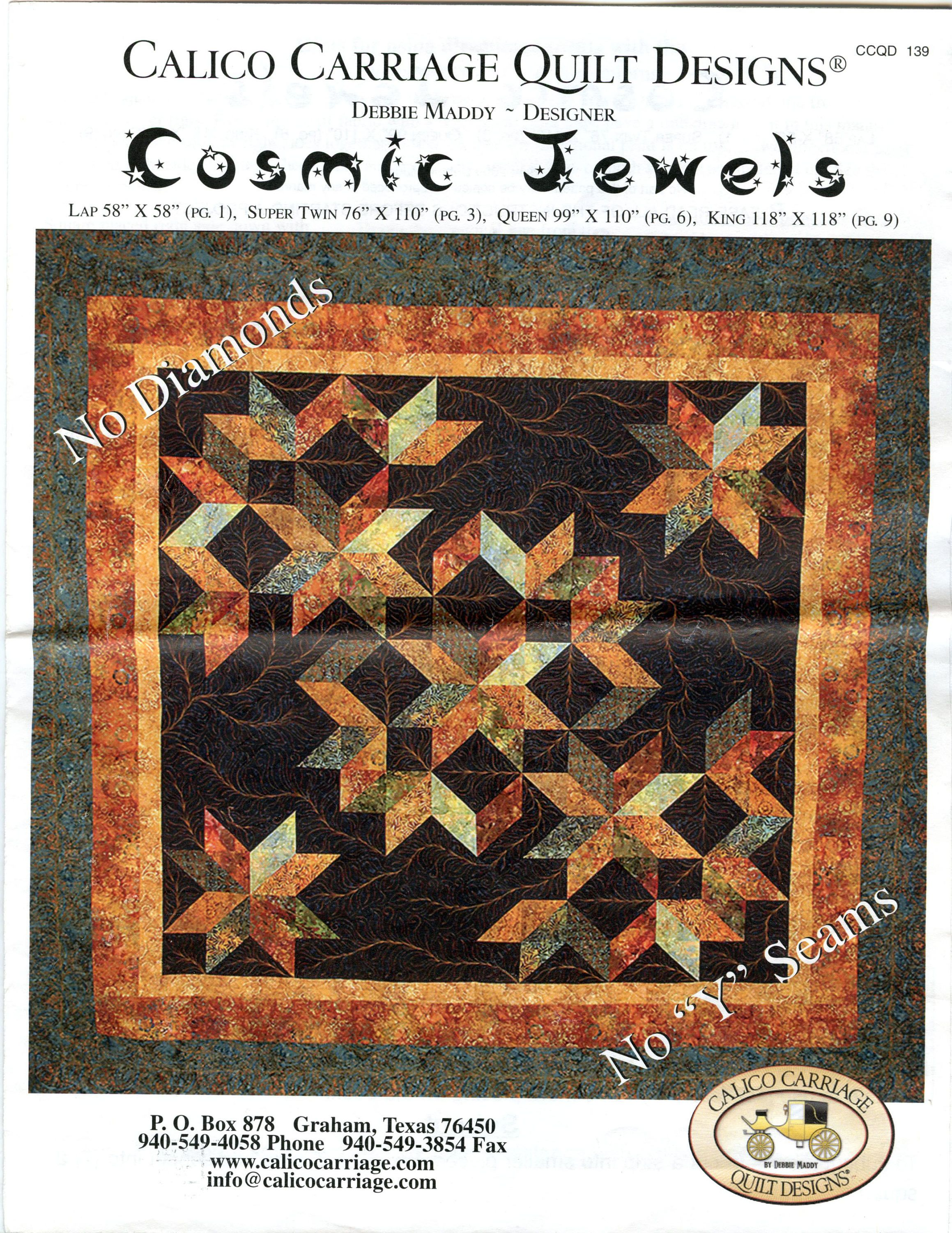 Cosmic Jewels Quilt Pattern by Debbie Maddy Calico Carriage Quilt ... : debbie maddy quilt patterns - Adamdwight.com