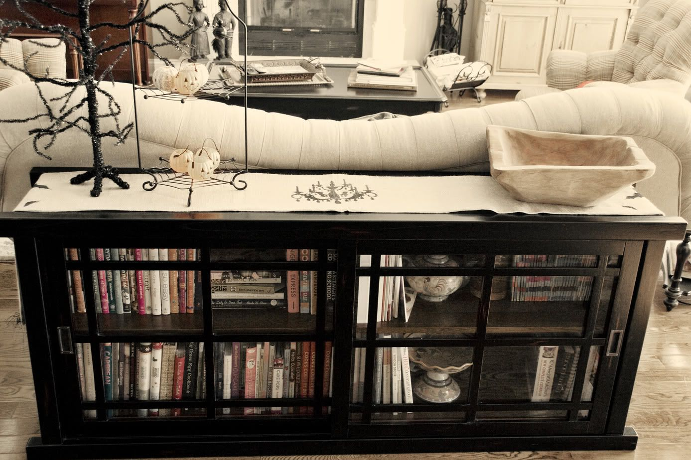 sofa table runners black leather nailhead trim halloween spooky burlap runner the polkadot chair polka dot use club scrap chandelier stencil or stamp