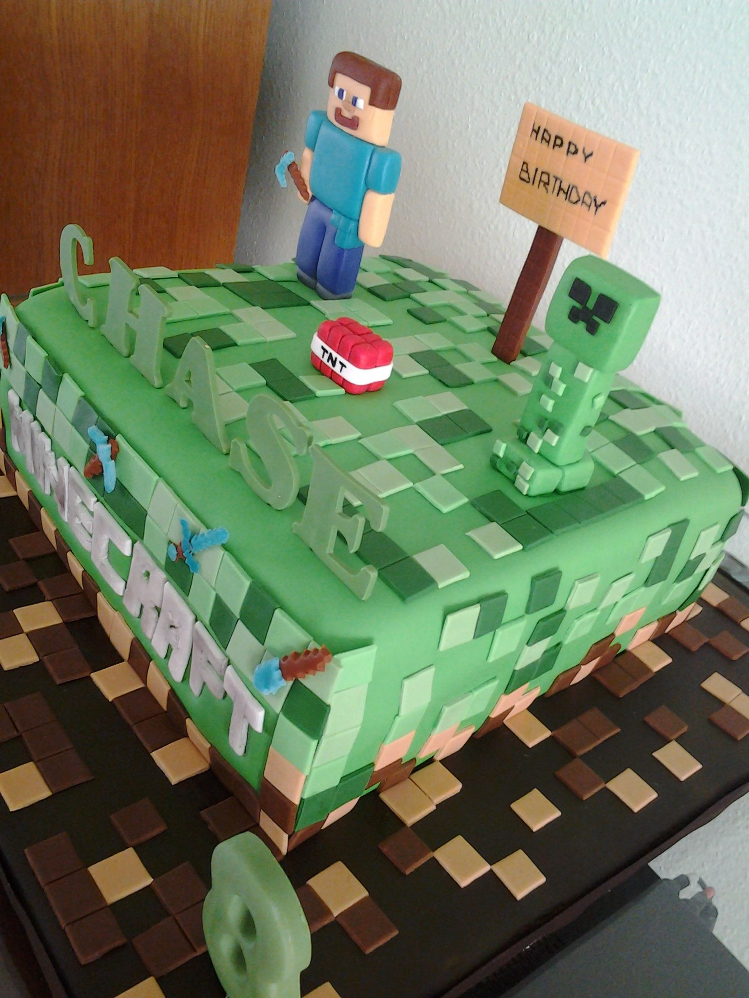 Minecraft Cake For Lucas S Birthday For The Kids