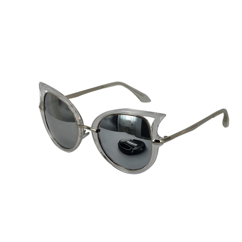 05f481404d Womens Cat Eye Cateye Sunglasses in Transparent with Silver Reflective Lens  - CA125TVSLNJ - Women s Sunglasses