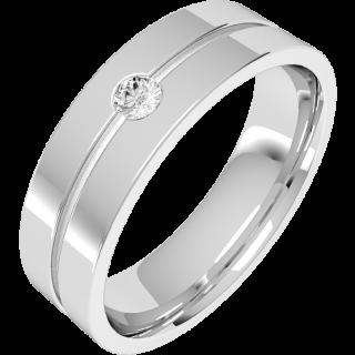 A classic Round Brilliant Cut diamond set mens ring in 18ct white