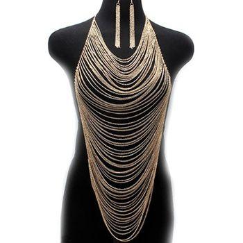 Cadena cuerpo pendientes collar oro joya plata señora