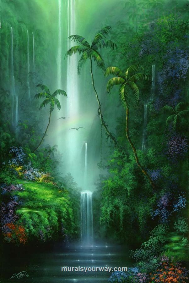 Fantasy Waterfall Landscape Mural Jungle Mural Murals