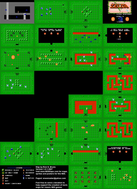 The Legend of Zelda - Level 5 Lizard - NES Map | zelda | Zelda map