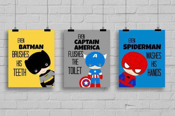 """Superhero Bathroom Art Prints - """"Even Batman Brushes His Teeth"""" Comic Book Print, Pop Art Print -Batman-Spiderman, Set of 3 Prints"""