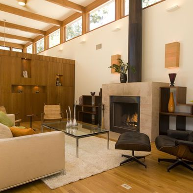 Exposed Fireplace Flue Actually Looks Alright We Might Install The Mantlepiece Mid Century Modern Living Room Contemporary Living Room Interior Architecture