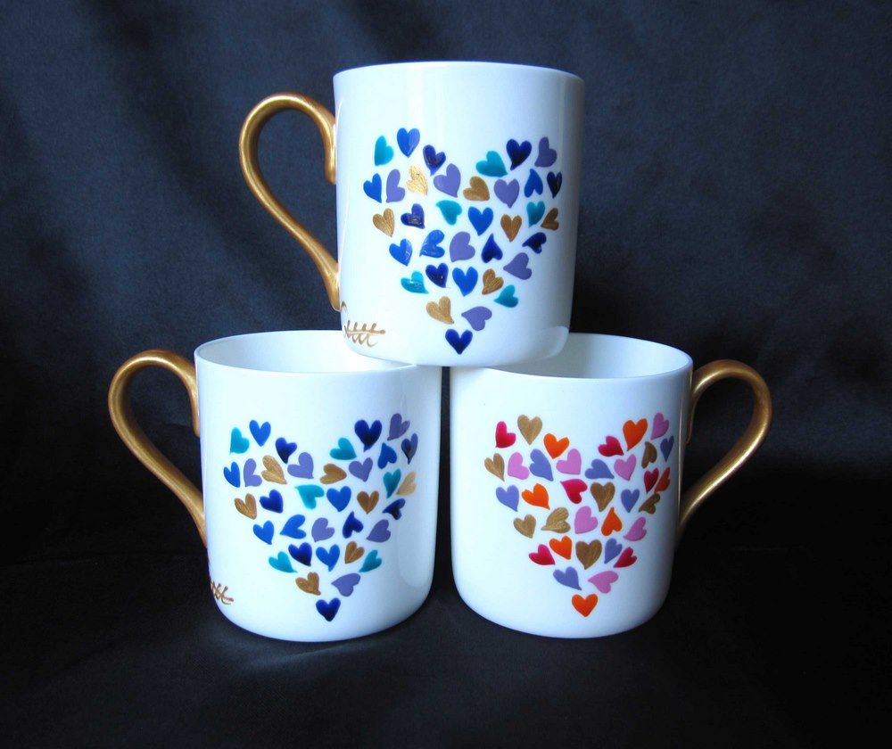 Hearts Mug Hand Painted Diy Mug Designs Hand Painted Mugs